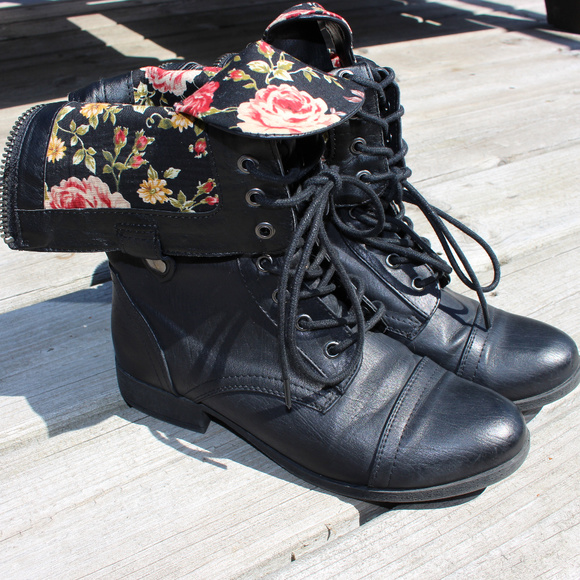 Forever 21 Shoes - Forever 21 Floral Combat Boots dd157d0868